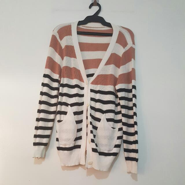 Unbranded Striped Knit Cardigan