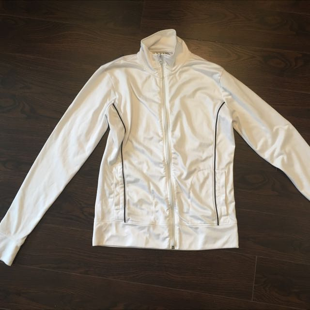 Mendocino White Zip Up Light Jacket Or Sporty Sweater