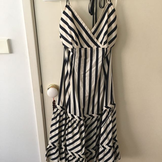 Witchery Stripe Halter Neck Dress - Size 8