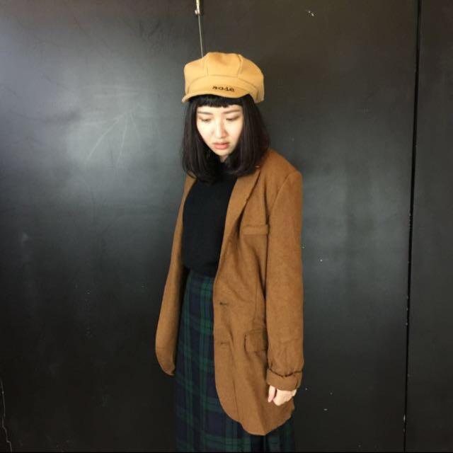 Zara 羊毛 咖啡色 毛料大衣 西裝外套