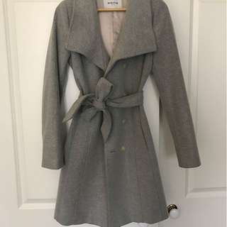 Aritzia Babaton Cristobal Grey Wool Wrap Coat