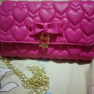 Authentic Betsey Johnson Heart Wallet On A String