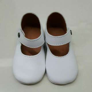Chateau de sable White Baby Shoes In Leather