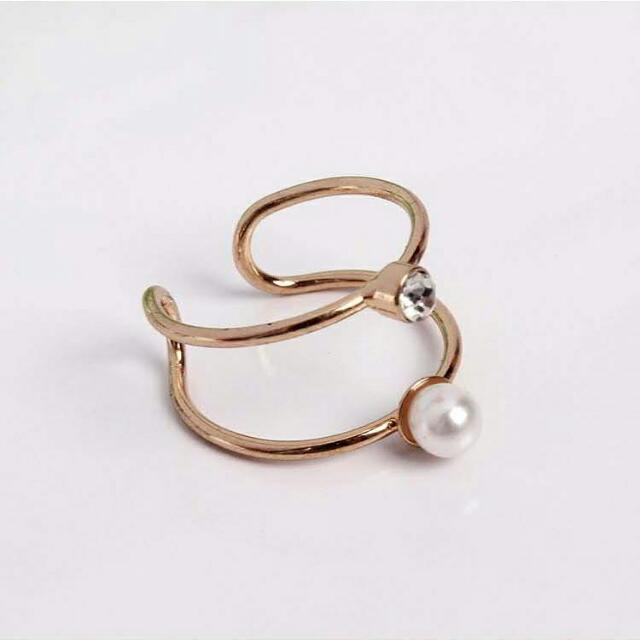 02698Fr  Japanese OSEWAYA Metal Pearl Gem Ring Gold