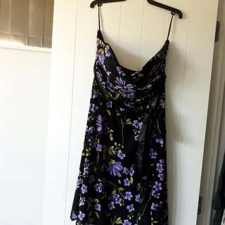 Black And Purple Flowery Dress