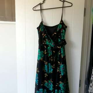 Black And Green Flower Dress