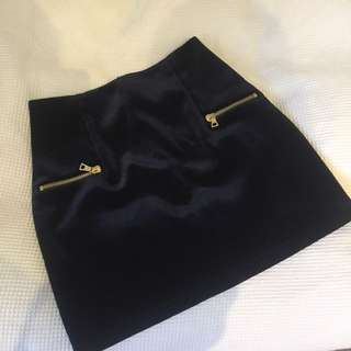 SANDRO PARIS Navy Blue Velvet 'Janet' Skirt Size 2 Excellent Condition