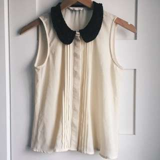 Cream Blouse With Beaded Collar