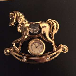 Gold rocking horse with Swarovski crystals