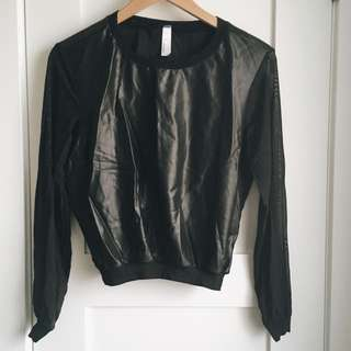 Mesh-leather Crewneck