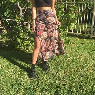 ASOS Floral print maxi split skirt