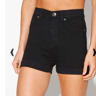 Dr Denim High Waisted Black Shorts
