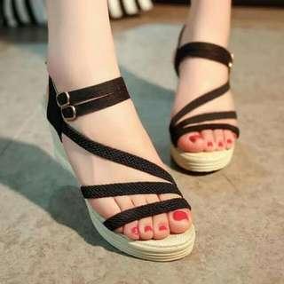 Korean Braided Strappy Wedge Sandals