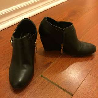 Black Wedge Ankle Boots from Spring