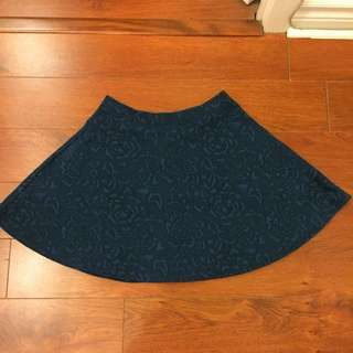 Cute Teal Floral Skirt from F21