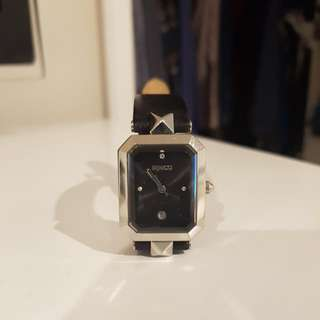 Mimco Black Leather Strap Watch