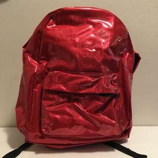 Red Sparkly Vinyl Backpack