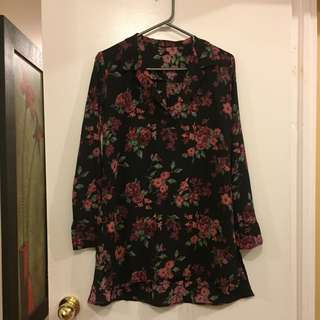 Loose Long Floral Shirt with Side Slits