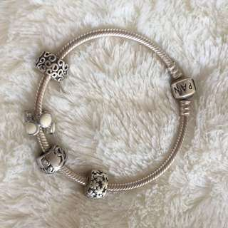 *PRICE DROP* Authentic Pandora Sterling Silver Barrel Clasp With Clips (THE TWO MIDDLE CHARMS ARE NOT FROM PANDORA)