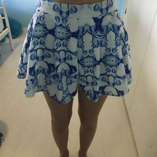 Light Blue And White High waisted Shorts