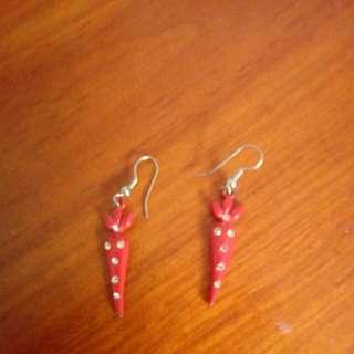 Red Pepper Diamante Earrings