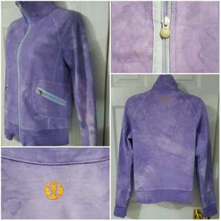 Lululemon Womens Purple Tie Dye Full Zip Flat Pockets Long Sleeve Jacket Sz M