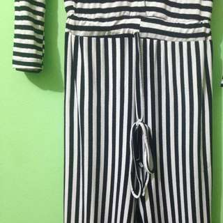 BIG SIZE LONG JUMPSUIT STRIPE
