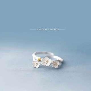 027839r  Silver Ring Female Plum Blossom PlumRing