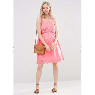 ASOS Maternity Sun Dress Pink with Crochet Trim Size 8