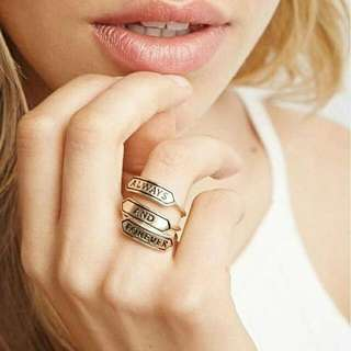 0262FDr  English Lettering Letter Ring Couple Ring Combination Gold