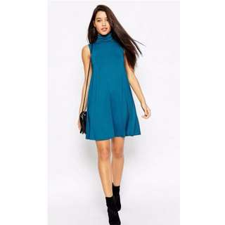 ASOS Green Teal Swing Dress Turtleneck Size 8