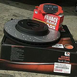 FujiAce High Temp Cross Drilled & Slotted Rotors with brake pads