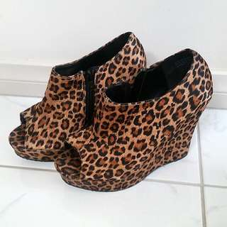 Leopard Print Wedges- Size 6