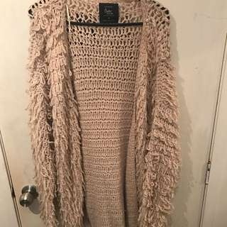 Beige Fluffy Cardigan