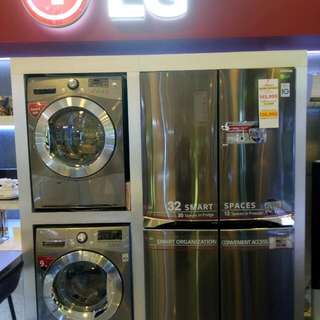 brand new side by side ref LG inverter 32cufit stainless platinum finish