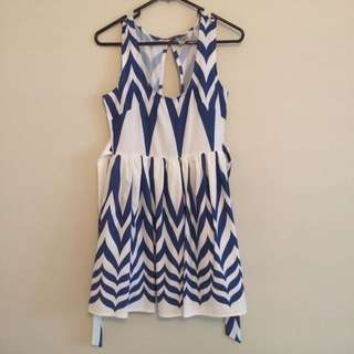 Blue And White Zigzag Dress