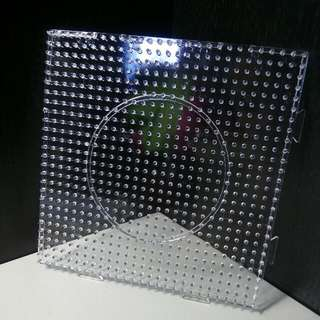 Square Transparent Linkable Pegboard Pyssla / Hama / Perler 13cm By 13cm / 27 Pins