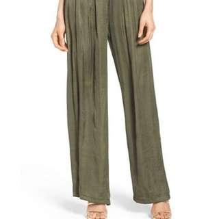 BARDOT Khaki Wide Leg Silk Pants