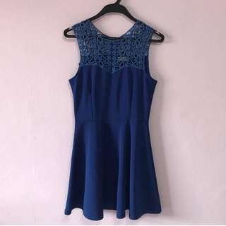🚺 Lace Top Flare Dress Navy Blue