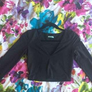 black kookai long sleeve crop top