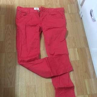 西瓜紅 亮紅 內搭褲長褲