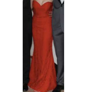 Bariano CAMILA STRAPLESS LACE GOWN RED