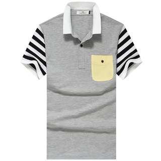 👠2017新款美式休閒運動風波普線條時尚POLO衫T恤短T