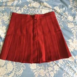 紅色百褶裙