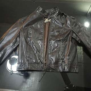 Synthetic Leather Jacket Dark Brown (S-M) Cropped
