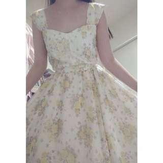 🚚 法國古著 古典鄉村寬肩帶碎花洋裝 紗裙 復古 vintage