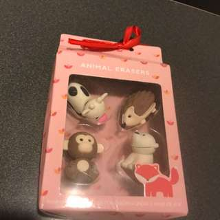 Kikki K Swedish Animal Eraser Set - Brand New Cute