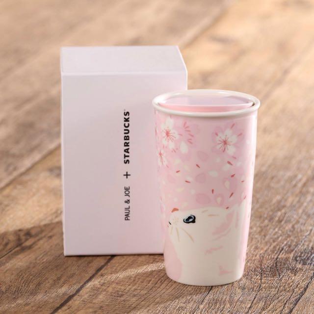 2017 星巴克 Starbucks x Paul & Joe 貓咪 雙層 馬克杯 粉嫩 櫻花 限量