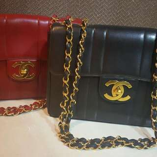 (black taken) Chanel mademoiselle jumbo in red and oversized super shiny cc logo