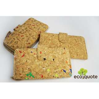 EcoQuote Long Wallet Wristlets Zip Button Cork Material